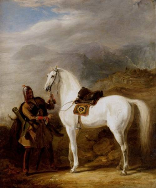 A Circassian Chief Preparing His Stallion